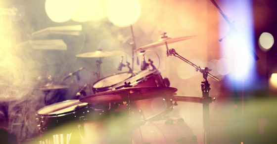Live music background. Drum on stage.Concert and night lifestyle